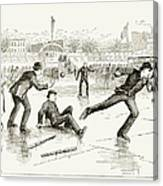 Baseball On Ice, 1884 Canvas Print