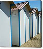 Beach Cabins In Venice, Italy Canvas Print
