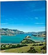 Beautiful Summer Day View Into The Akaroa Harbour Canvas Print