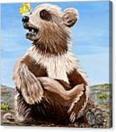 Ben Bear And Butterfly Canvas Print
