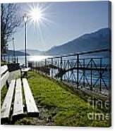 Bench In Backlight Canvas Print
