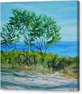 Bikes Waiting Canvas Print