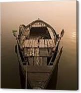 Boat In The Water, Varanasi, India Canvas Print