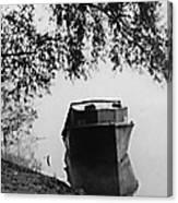 Boat On Foggy Rhine Canvas Print