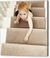 Boy Climbing Stairs Canvas Print