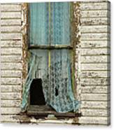 Broken Window In Abandoned House Canvas Print