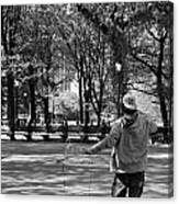 Bubble Boy Of Central Park In Black And White Canvas Print
