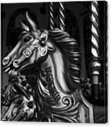 Carousel Horses Mono Canvas Print