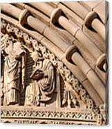 Carved Stone Biblical Mural Above Catholic Cathedral Doorway Canvas Print
