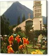 Church Nestled In The Mountains Canvas Print