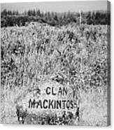 clan mackintosh memorial stone on Culloden moor battlefield site highlands scotland Canvas Print