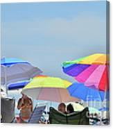 Coast Guard Beach Umbrellas Canvas Print