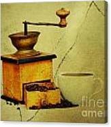 Coffee Mill And Beans In Grunge Style Canvas Print