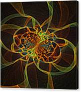 Computer Generated Yellow Vortex Abstract Fractal Flame Art Canvas Print