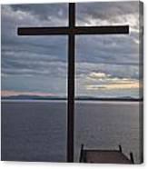 Cross By Lake Canvas Print