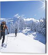 Cross-country Skiers In The Selkirk Canvas Print
