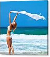 Dancing Happy Girl On The Beach Canvas Print