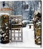 Decorative Iron Gate In Winter Canvas Print