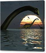 Diplodocus Dinosaurs Bathe In A Large Canvas Print