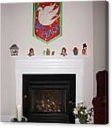 Fireplace At Christmas Canvas Print