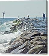 Fishing The Jetty - Island Beach State Park   Nj Canvas Print