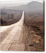 Foggy Road In Dobrogea Canvas Print