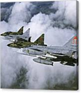 Four Saab 37 Viggen Fighters Canvas Print