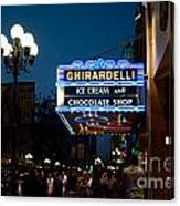 Ghirardelli Chocolate Signs At Night Canvas Print