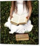 Girl Is Reading A Book Canvas Print