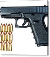 Glock Model 19 Handgun With 9mm Canvas Print