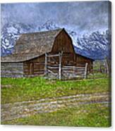 Grand Teton Iconic Mormon Barn Fence Spring Storm Clouds Canvas Print