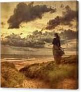 Haunting Figure Of A Woman Looking Out To The Ocean Canvas Print