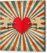 Heart And Cupid With Ray Background Canvas Print
