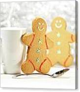 Hot Holiday Drink With Gingerbread Cookies  Canvas Print