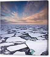 Ice Floes At Sunset Near Mertz Glacier Canvas Print