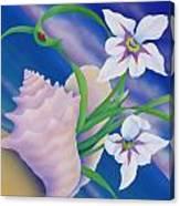 Ladybug And Iris Canvas Print