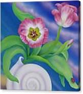 Ladybug And Tulips Canvas Print
