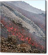 Lava Flow During Eruption Of Mount Etna Canvas Print