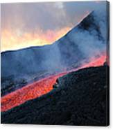 Lava Flowing From Base Of Hornito Canvas Print