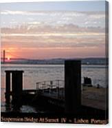 Lisbon Suspension Bridge At Sunset Iv Portugal Canvas Print