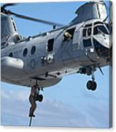 Marines Fast Rope From A Ch-46 Sea Canvas Print