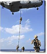 Marines Fast Rope From A Ch-46e Sea Canvas Print