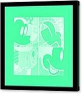Mickey In Negative Light Green Canvas Print