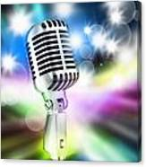Microphone On Stage Canvas Print