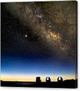 Milky Way And Observatories, Hawaii Canvas Print