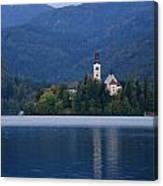 Moon Setting At Sunrise Over Island Church At Lake Bled Canvas Print