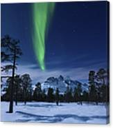 Moonlight And Aurora Borealis Canvas Print
