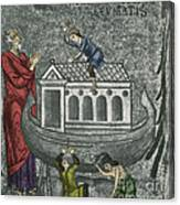 Noah Building The Ark Canvas Print