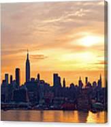 Ny Skyline Sunrise Gold Canvas Print