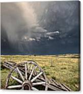 Old Prairie Wheel Cart Saskatchewan Canvas Print